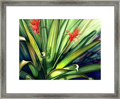 A Peek Through The Leaves Framed Print by Lyse Anthony