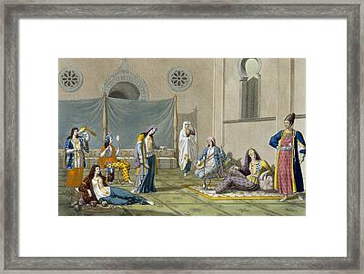 A Persian Harem, From Le Costume Ancien Framed Print by G. Bramati