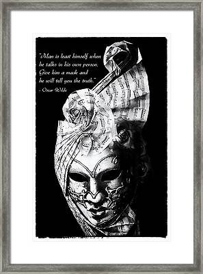 A Picture Of A Venitian Mask Accompanied By An Oscar Wilde Quote Framed Print by Nila Newsom