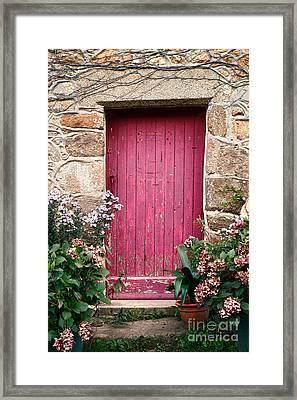 A Pink Door Framed Print by Olivier Le Queinec