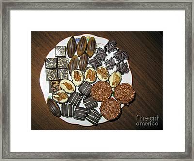 A Plate Of Chocolate Sweets Framed Print by Ausra Huntington nee Paulauskaite