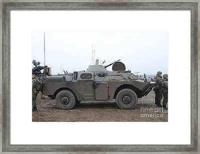 A Polish Army Brdm-2 Combat Framed Print by Andrew Chittock