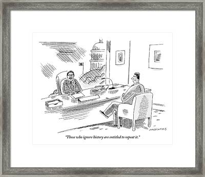 A Politician Holds A Meeting With A Colleague. An Framed Print by Mick Stevens