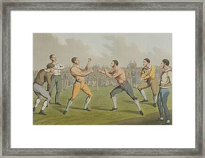 A Prize Fight Aquatinted By I Clark Framed Print by Henry Thomas Alken