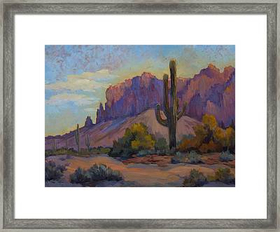 A Proud Saguaro At Superstition Mountain Framed Print by Diane McClary