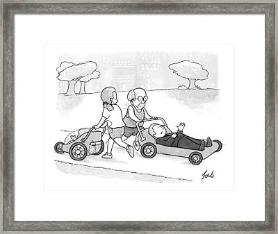 A Psychiatrist Is Jogging In The Park Framed Print by Tom Toro