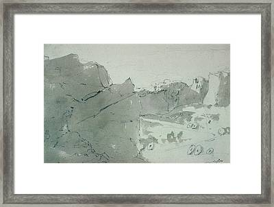 A Quarry For Mill-stones In Derbyshire Framed Print by John Constable