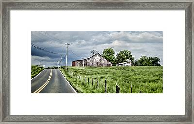 A Quilted Barn Framed Print by Heather Applegate