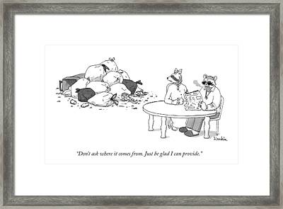 A Raccoon Husband And Wife Sit At A Breakfast Framed Print by Charlie Hankin