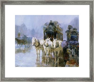 A Rainy Day In Paris Framed Print by Ulpiano Checa y Sanz