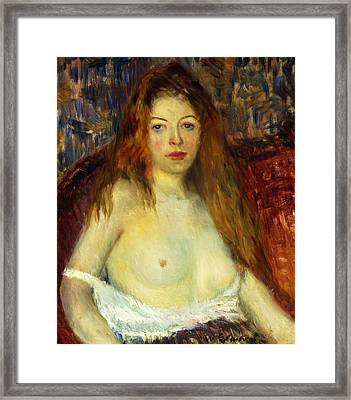 A Red-haired Model Framed Print by William James Glackens