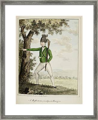 A Rifleman Of The Queen's Rangers Framed Print by British Library