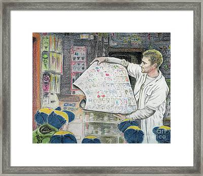 A Roll Of Baseball Cards Framed Print by Yoshiko Mishina