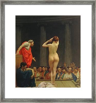 A Roman Slave Market Framed Print by Jean Leon Gerome