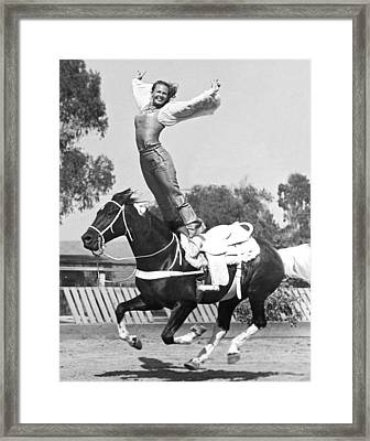 A Roman Stand On Horseback Framed Print by Underwood Archives