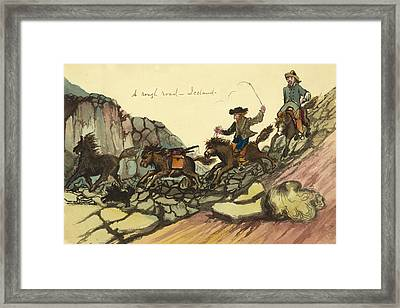 A Rough Road In Iceland Circa 1862 Framed Print by Aged Pixel