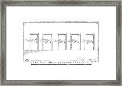 A Row Of Doors Slam Closed At The Exact Same Framed Print by Liana Finck