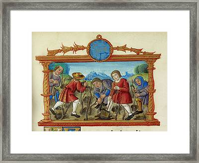 A Rural Scene People Digging And Planting Framed Print by British Library