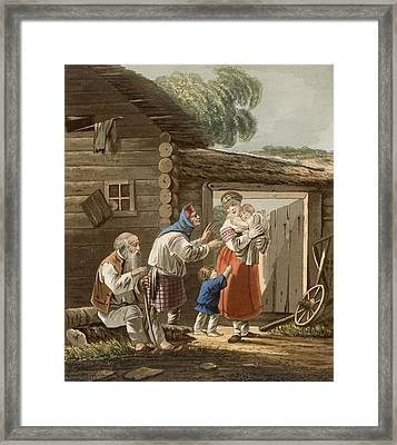 A Russian Peasant Family, 1823 Framed Print by English School