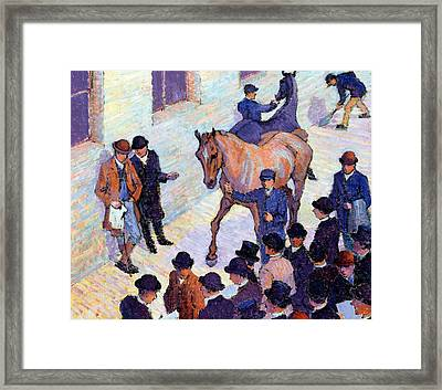 A Sale At Tattersalls, 1911 Framed Print by Robert Polhill Bevan