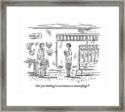 A Saleslady Asks A Woman About What Manner Framed Print by Barbara Smaller