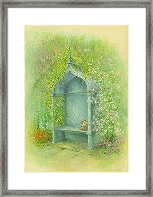 A Seat In The Garden Framed Print by Garry Walton