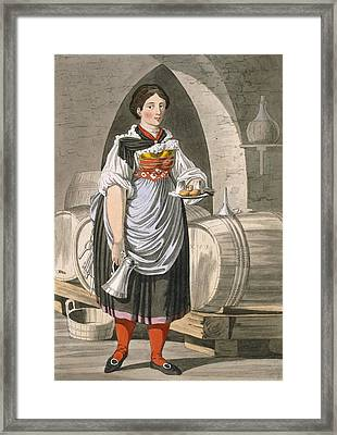 A Serving Girl At An Inn Framed Print by Josef Anton Kapeller