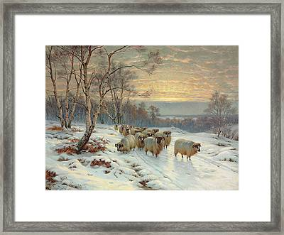 A Shepherd With His Flock In A Winter Landscape Framed Print by Wright Barker