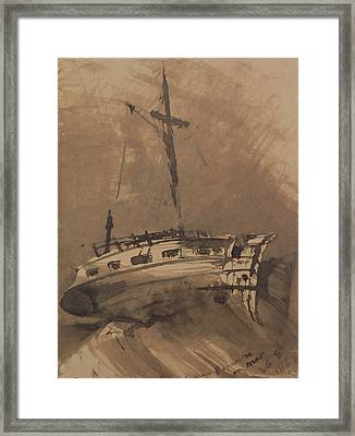 A Ship In Choppy Seas Framed Print by Victor Hugo