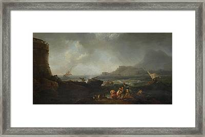 A Shipwreck In Stormy Seas Framed Print by Adrien Manglard