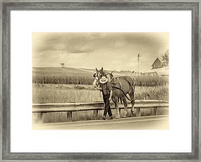 A Simple Life - Antique Sepia Framed Print by Steve Harrington