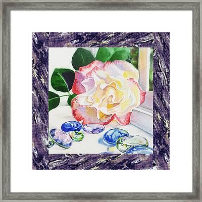 A Single Rose Mable Blue Glass Framed Print by Irina Sztukowski