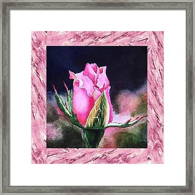 A Single Rose Pink Beginning Framed Print by Irina Sztukowski
