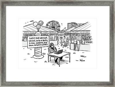A Sketchy-looking Man Sits At A Table Framed Print by Kaamran Hafeez
