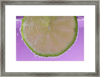 A Slice Of Lime In A Glass Of Sparkling Framed Print by Brian Jannsen