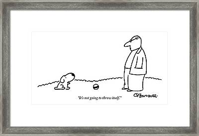 A Small Dog Sits A Short Distance Away Framed Print by Charles Barsotti