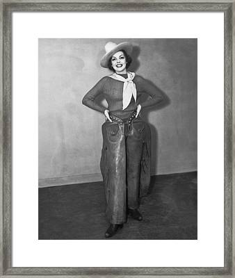 A Smiling Cowgirl Framed Print by Underwood Archives