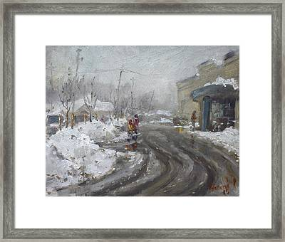 A Snow Day At Mil-pine Plaza Framed Print by Ylli Haruni
