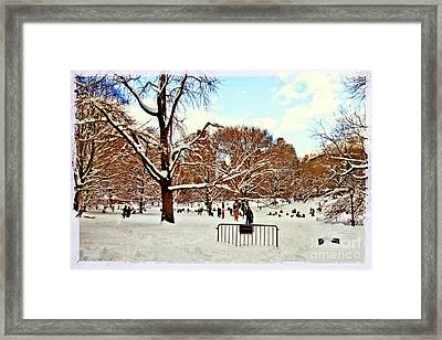 A Snow Day In Central Park Framed Print by Madeline Ellis