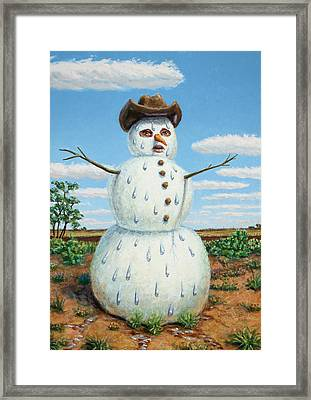 A Snowman In Texas Framed Print by James W Johnson