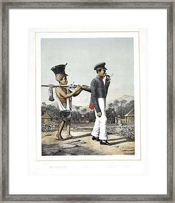A Soldier And His Servant Framed Print by British Library