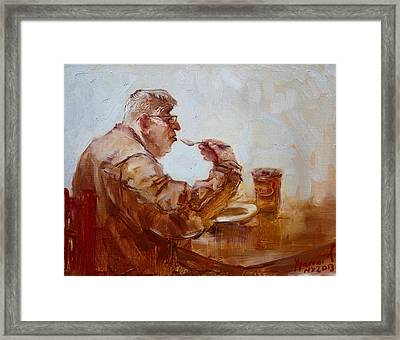 A Soupe Break At Tim Hortons Framed Print by Ylli Haruni