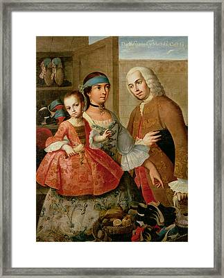 A Spaniard And His Mexican Indian Wife And Their Child, From A Series On Mixed Race Marriages Framed Print by Miguel Cabrera
