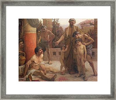 A Spartan Points Out A Drunken Slave To His Sons Framed Print by Fernand Sabbate