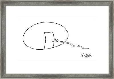 A Sperm With A Pointed Finger At Its Head Presses Framed Print by Sam Gross