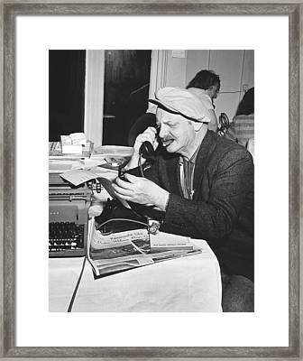A Sports Reporter At Work Framed Print by Underwood Archives