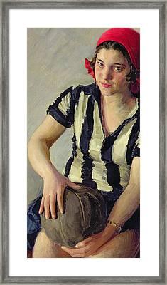 A Sportswoman Framed Print by Ivan Semyonovich Kulikov