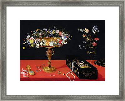 A Still Life Of A Tazza With Flowers  Framed Print by Jan the Younger Brueghel