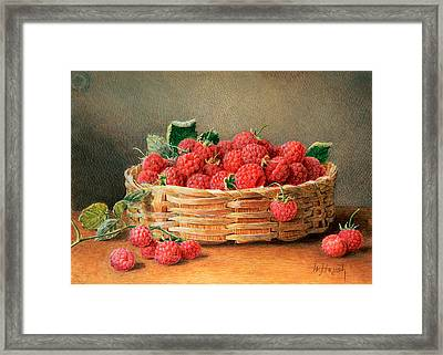 A Still Life Of Raspberries In A Wicker Basket  Framed Print by William B Hough