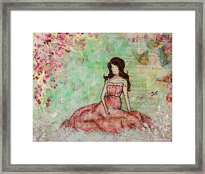 A Still Morning Folk Art Mixed Media Painting Framed Print by Janelle Nichol